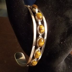Jewelry - Taxco Mexico 925 Sterling & Tiger's Eye Bracelet